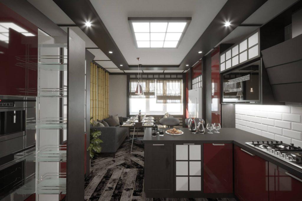 дизайн кухни в японском стиле 6