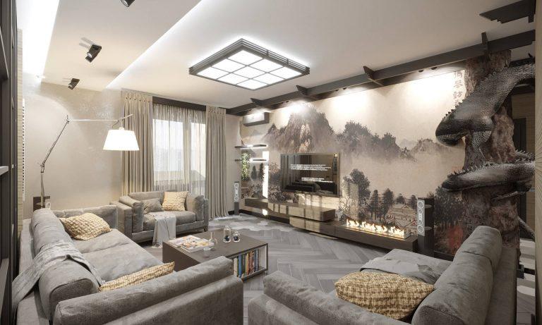 дизайн гостиной в этно стиле 7