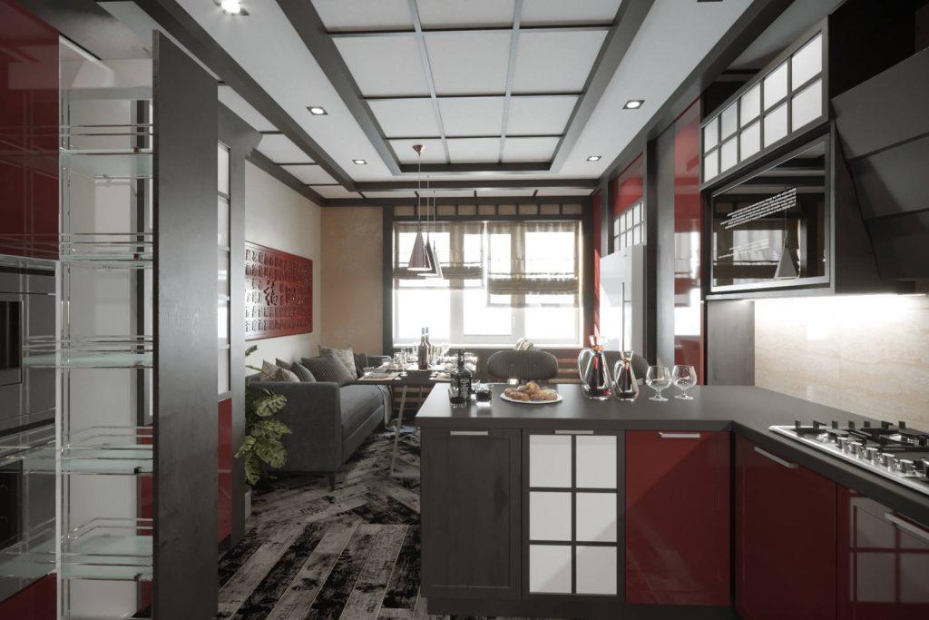 дизайн кухни в японском стиле 5