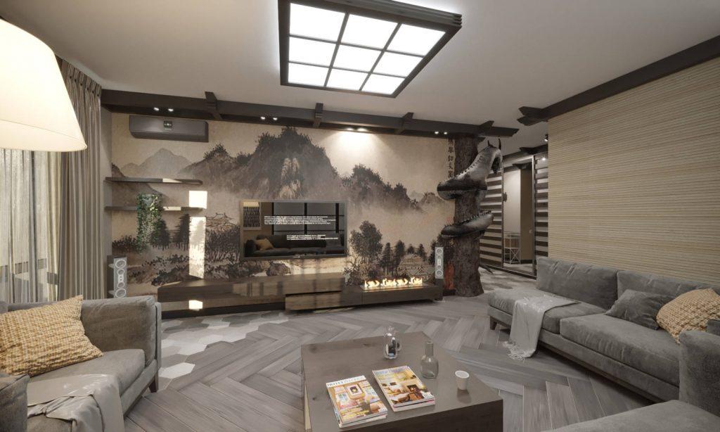 дизайн гостиной в этно стиле 2