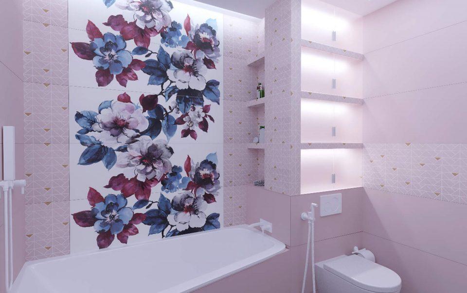 Дизайн интерьера ванны плитка мозаика на стенах 3