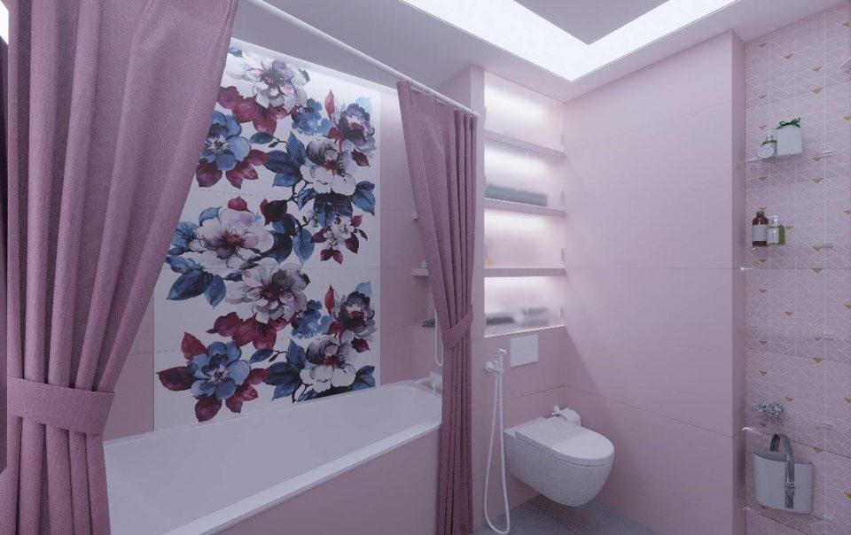 Дизайн интерьера ванны плитка мозаика на стенах 2
