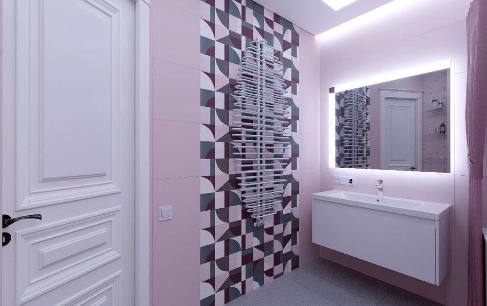 Дизайн интерьера ванны плитка мозаика на стенах 1