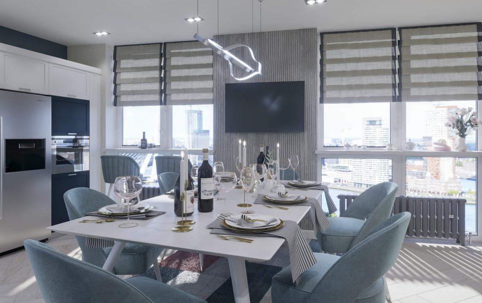дизайн кухни гостиной 2 в ЖК Автограф