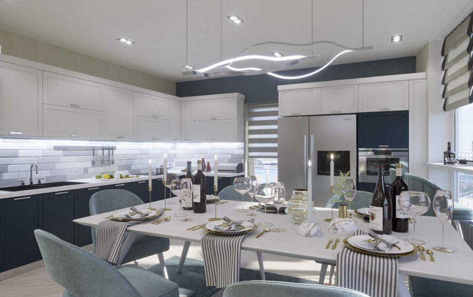 дизайн кухни гостиной 1 в ЖК Автограф