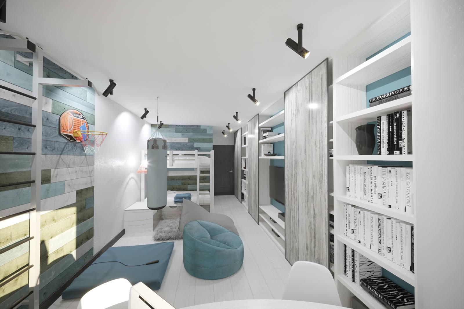 Дизайн детской комнаты Киев для взрослого, груша спортивная, книги, скандинавский стиль, современный интерьер
