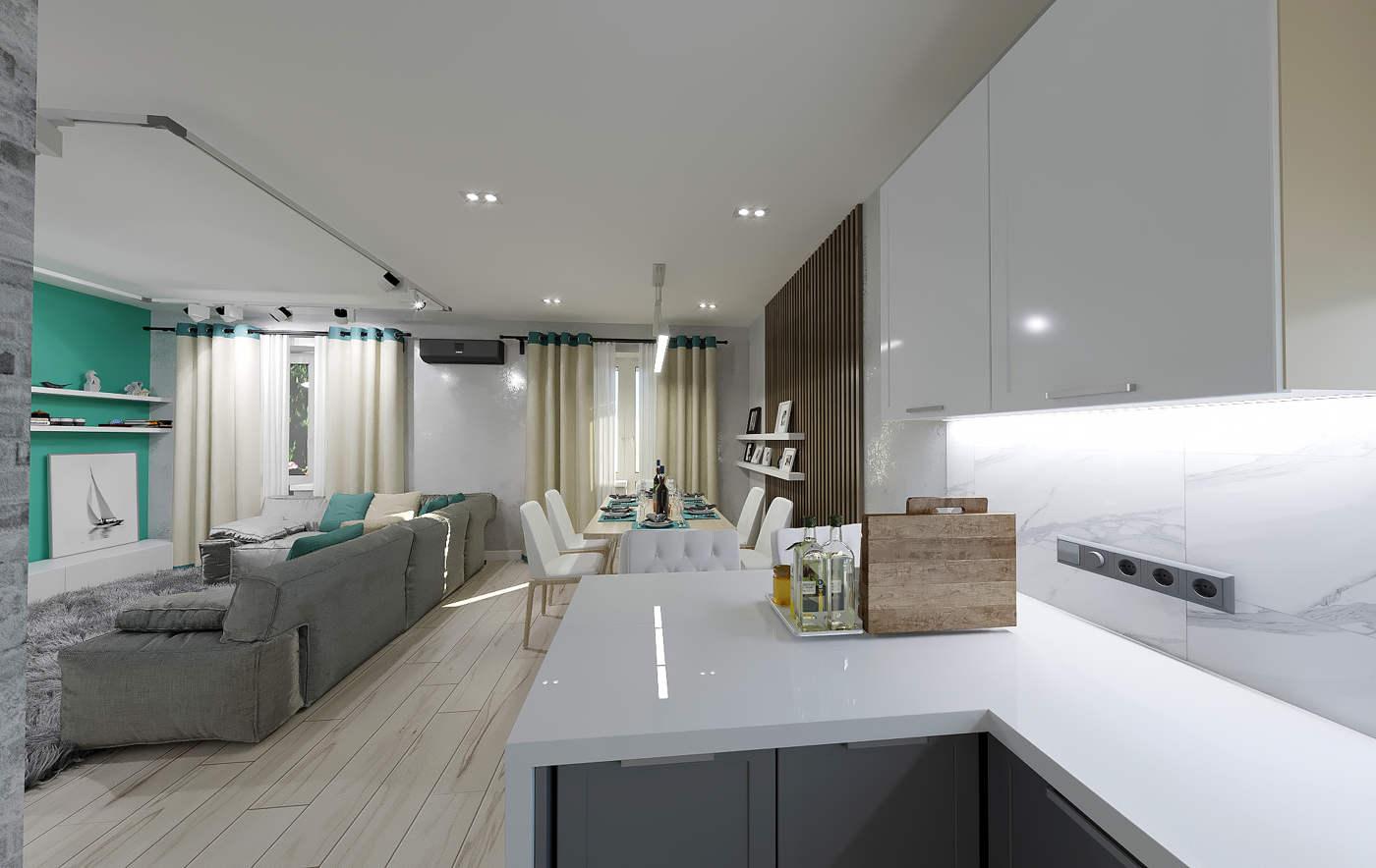 Дизайн кухни в квартире Киеве, констрастный интерьер, белая кухня