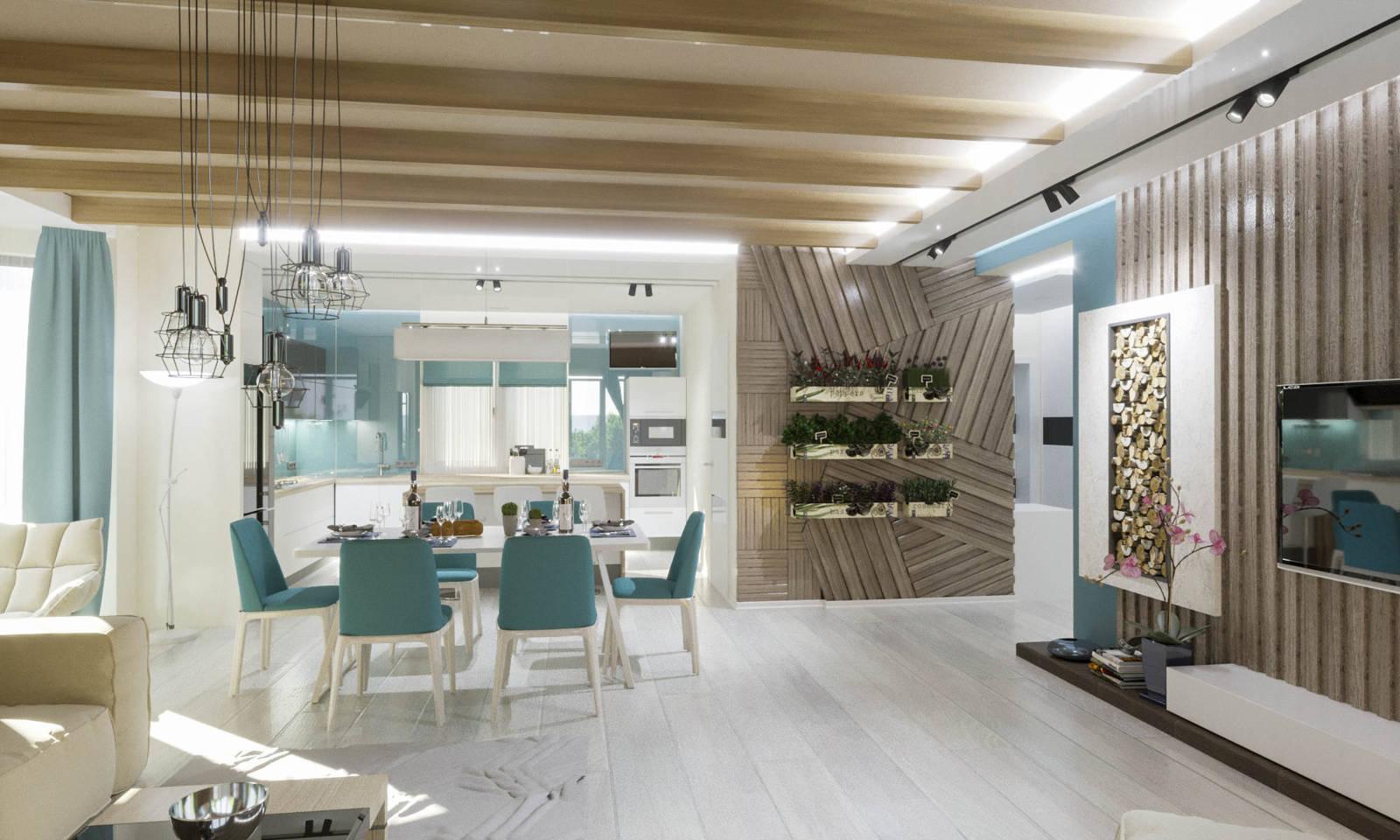 Дизайн итерьера гостинной фото Киев. Панели дерево на стенах