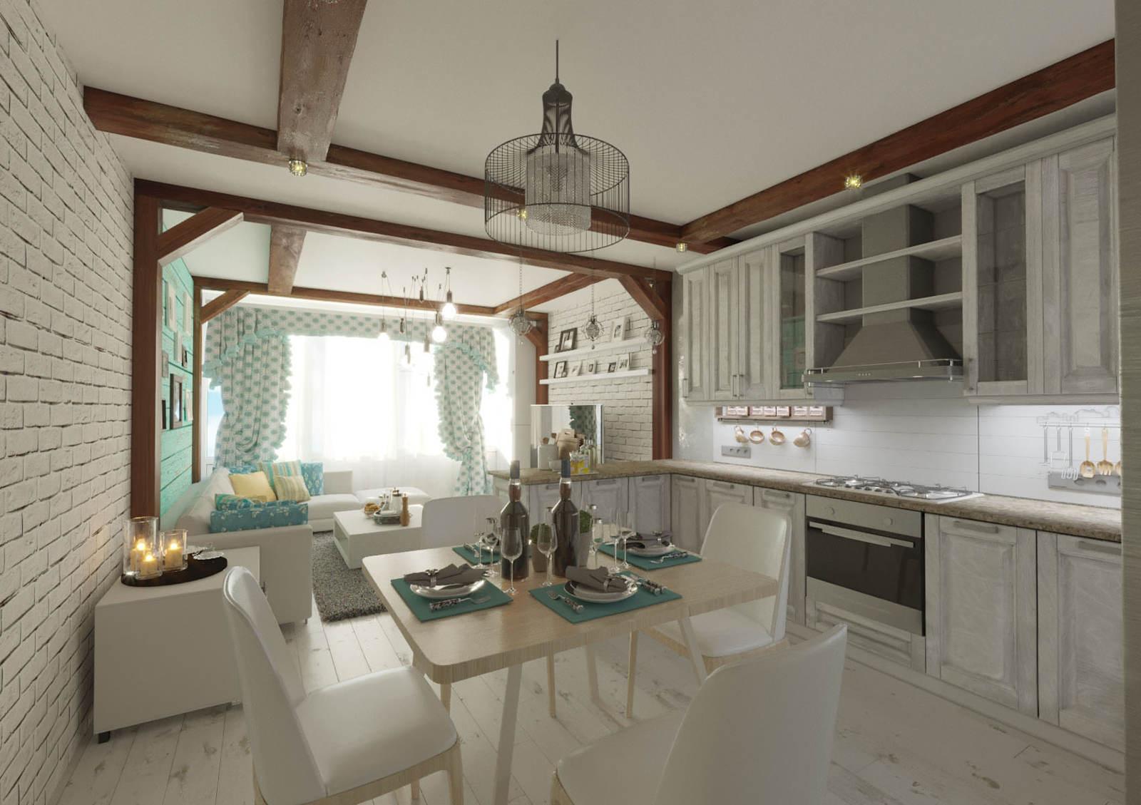 Дизайн кухни в квартире Киев картни, деревянные балки на потолке, легкая классика