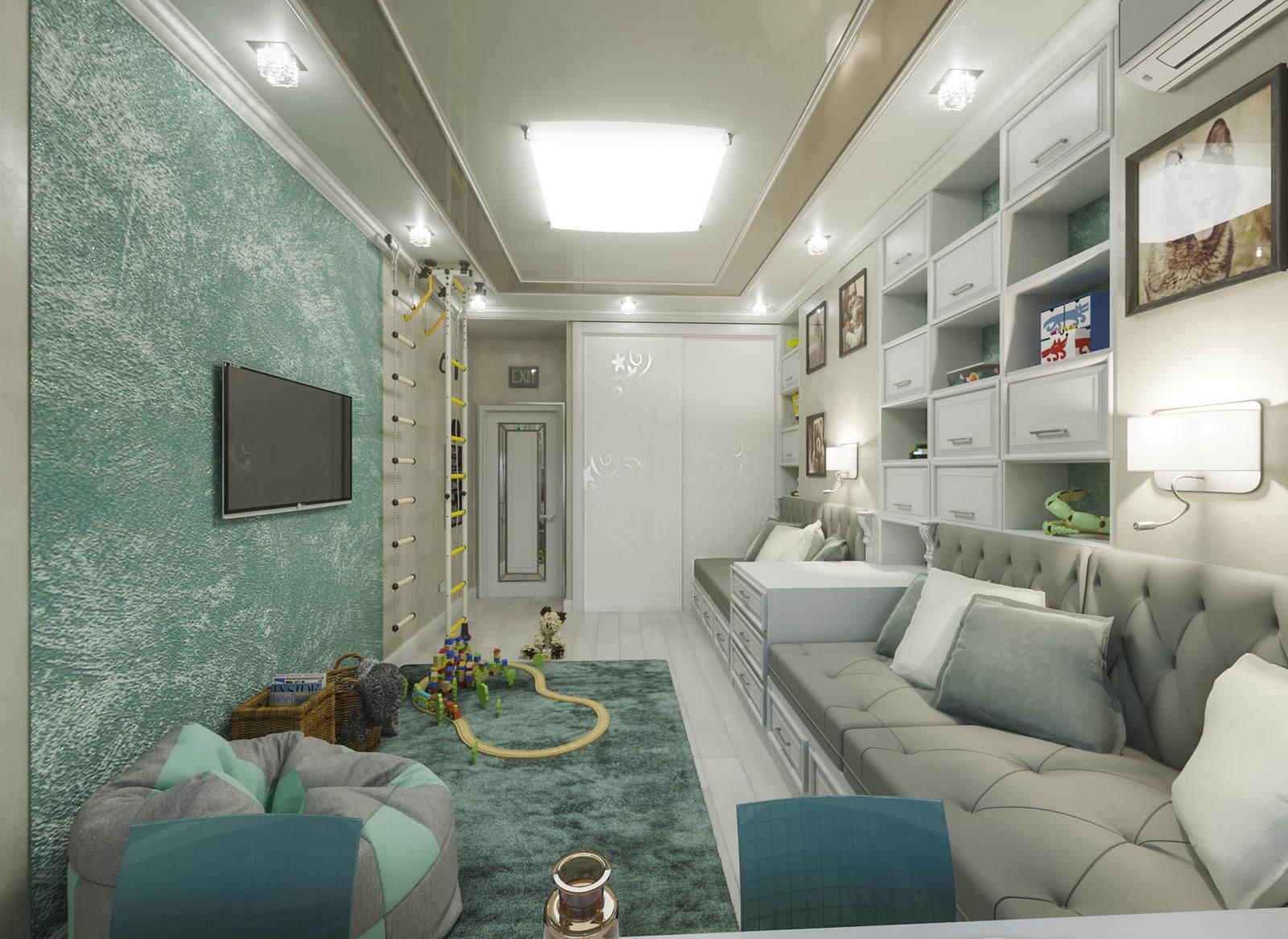 Дизайн детской комнаты Киев для подростка, легкая класика, прованс, декор стен, уголок для спорта
