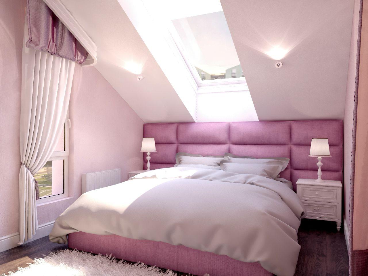 Дизайн спальни реальные фото Киев. мансардное окно легкая класика розовые цвета для девочки