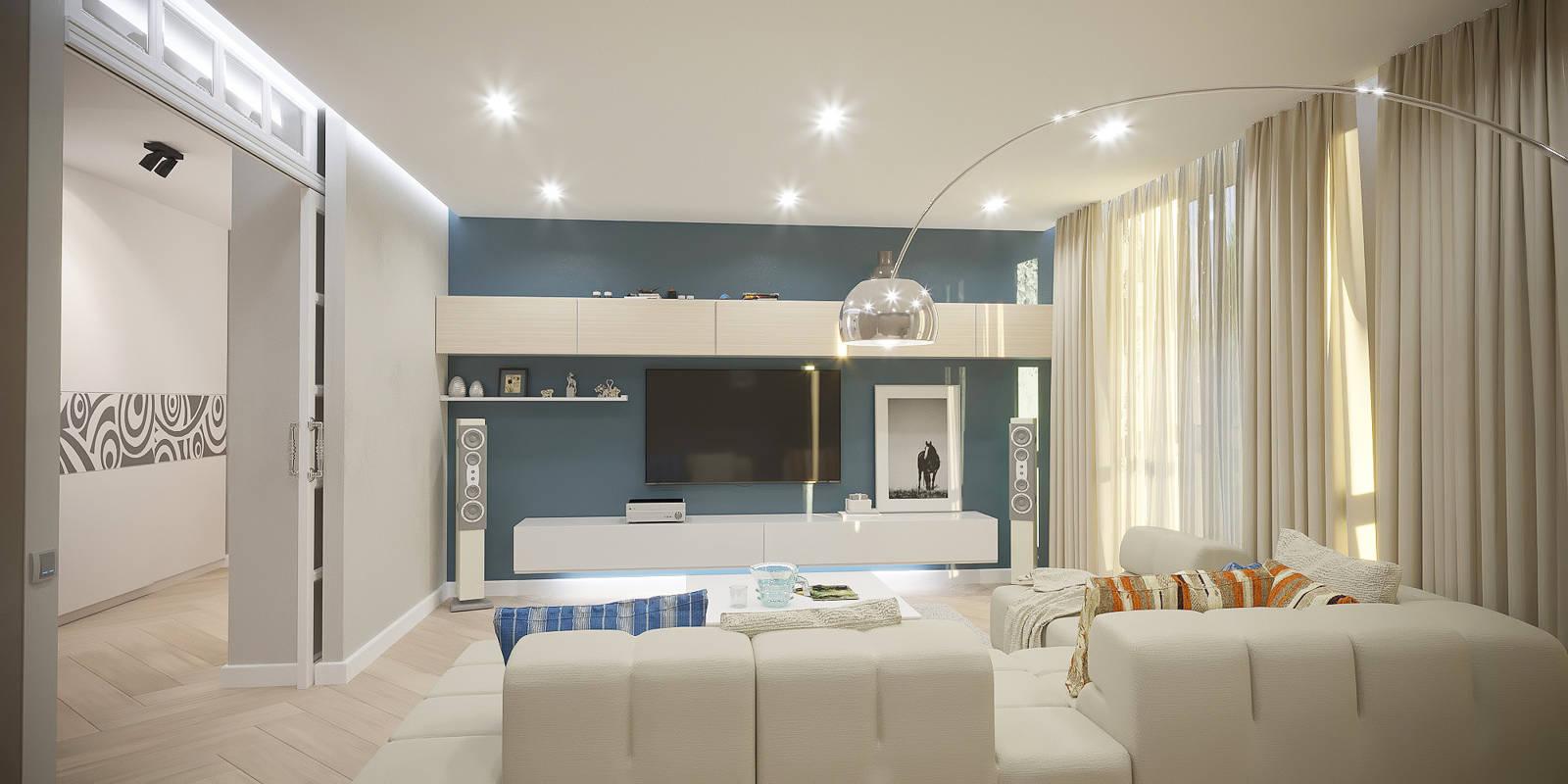 Дизайн нтерьера гостинной современный стиль, минимализм Киев ЖК Автограф