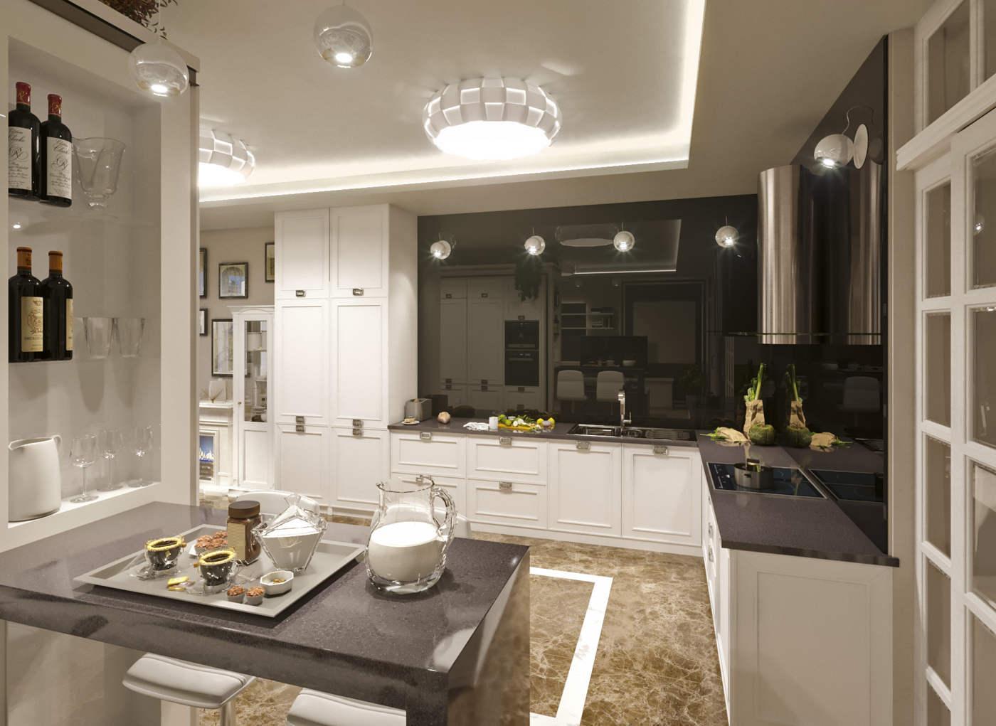 Дизайн кухни в квартире Киев ЖК Тетрис Хол, деловая, современная класика, фасады белые из дерева крашеные