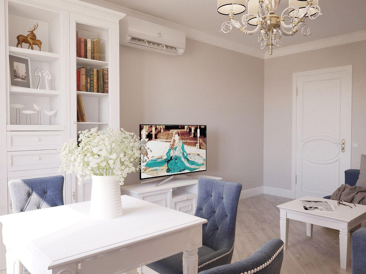Дизайн интерьера гостиной в легкой класике Киев.