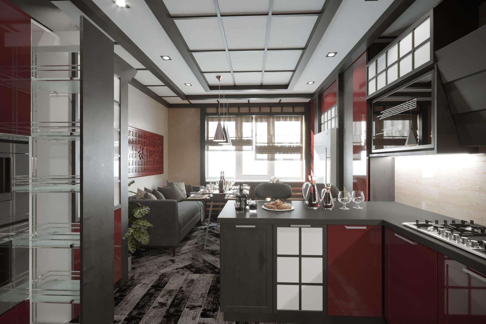 Дизайн кухни с диваном Киев. китайский стиль интерьера квартиры