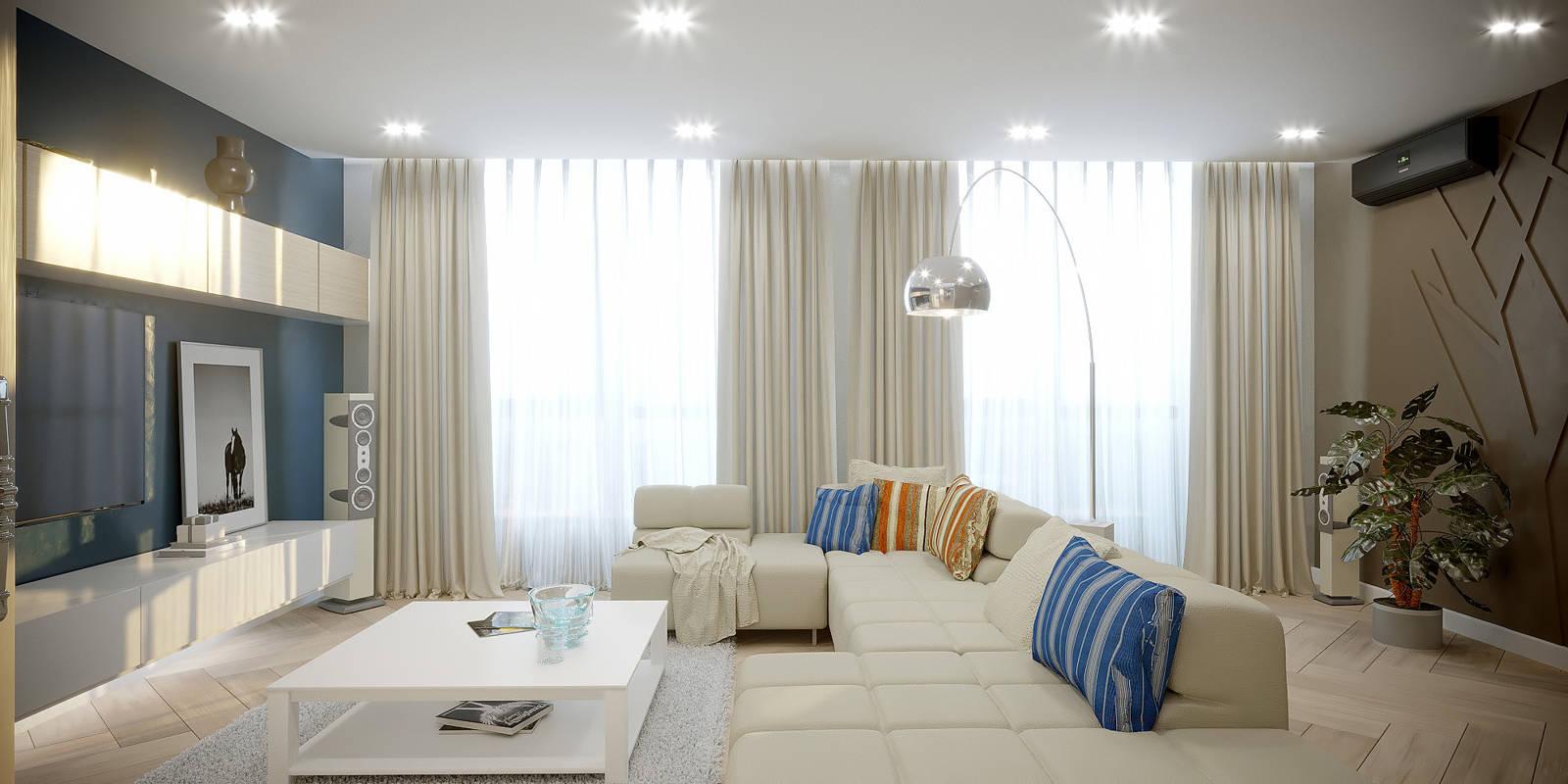 Дизайн интерьера гостиной в ЖК Автограф Киев.