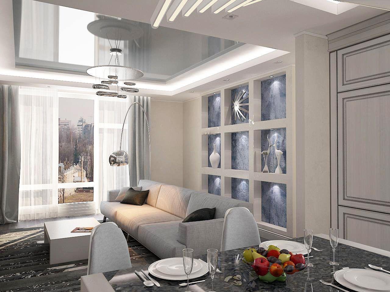 Дизайн нтерьера гостинной Киев ЖК Липинка, декрп на стенах с подсветкой, ниши