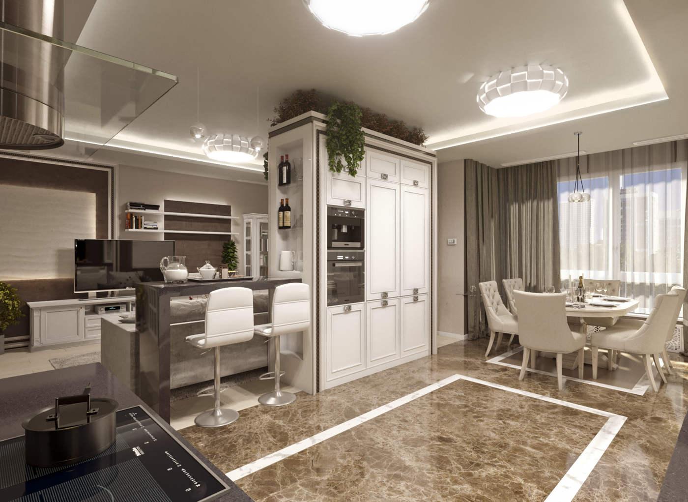 Дизайн кухни в квартире Киев легкая класика, модерн, фасады деревянные белые, темный пол
