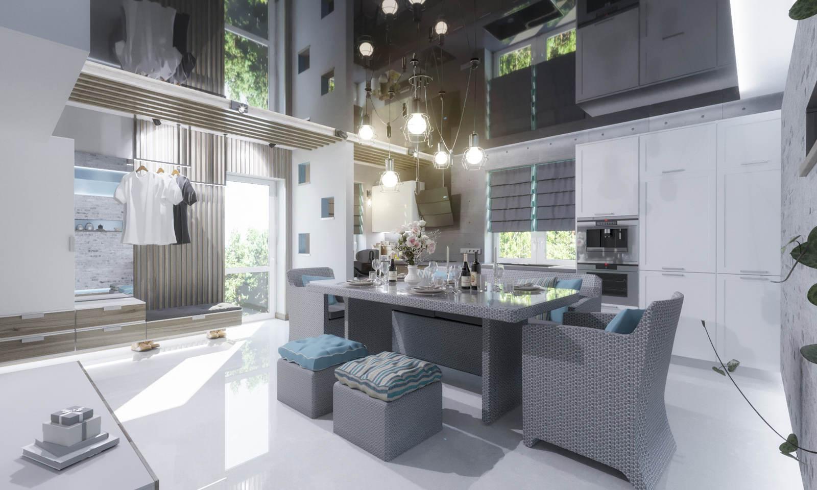 Дизайн кухни в квартире Киев модерн, современный, черный натяжной потолок