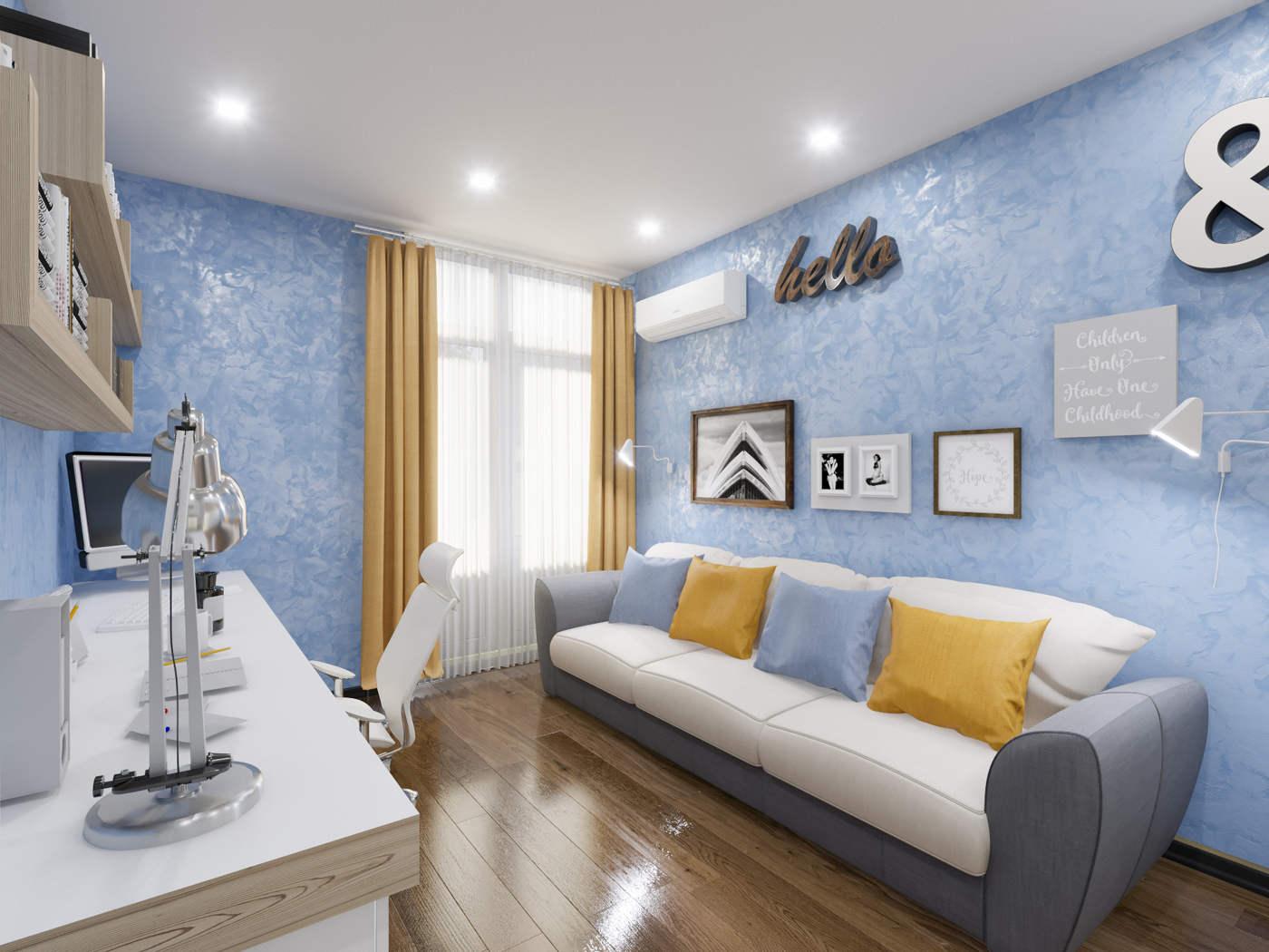 Дизайн детской комнаты с диваном Киев. подростковая, современный стиль, скандинавский