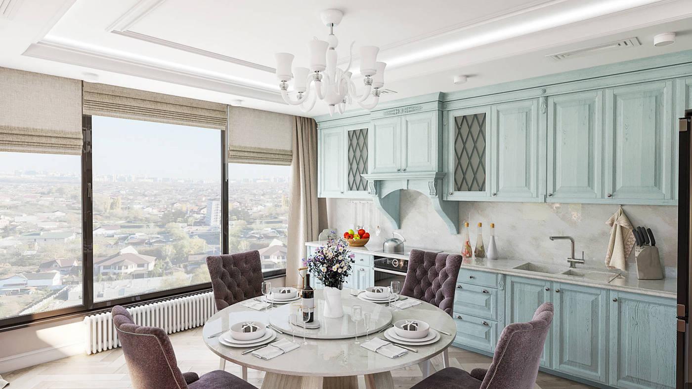 Дизайн кухни с окном в Киеве в классическмо стиле бирюзовый цвет