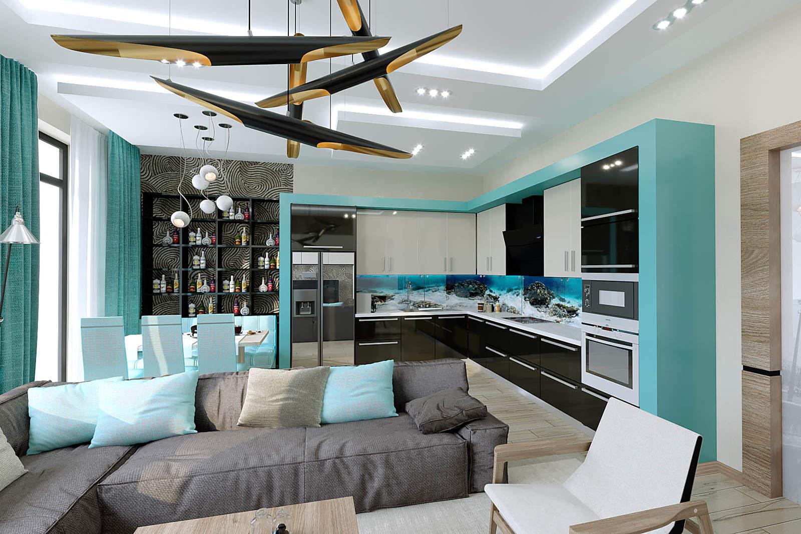 Дизайн кухни гостиной Киев. ЖК CHICAGO Central House