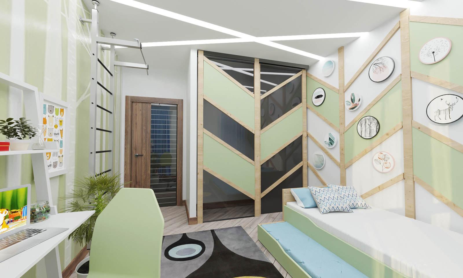 Дизайн детской комнаты фото Киев панели на стенах ЖК Ривер Стоун, салатовый цвет идеи рабочее место стол