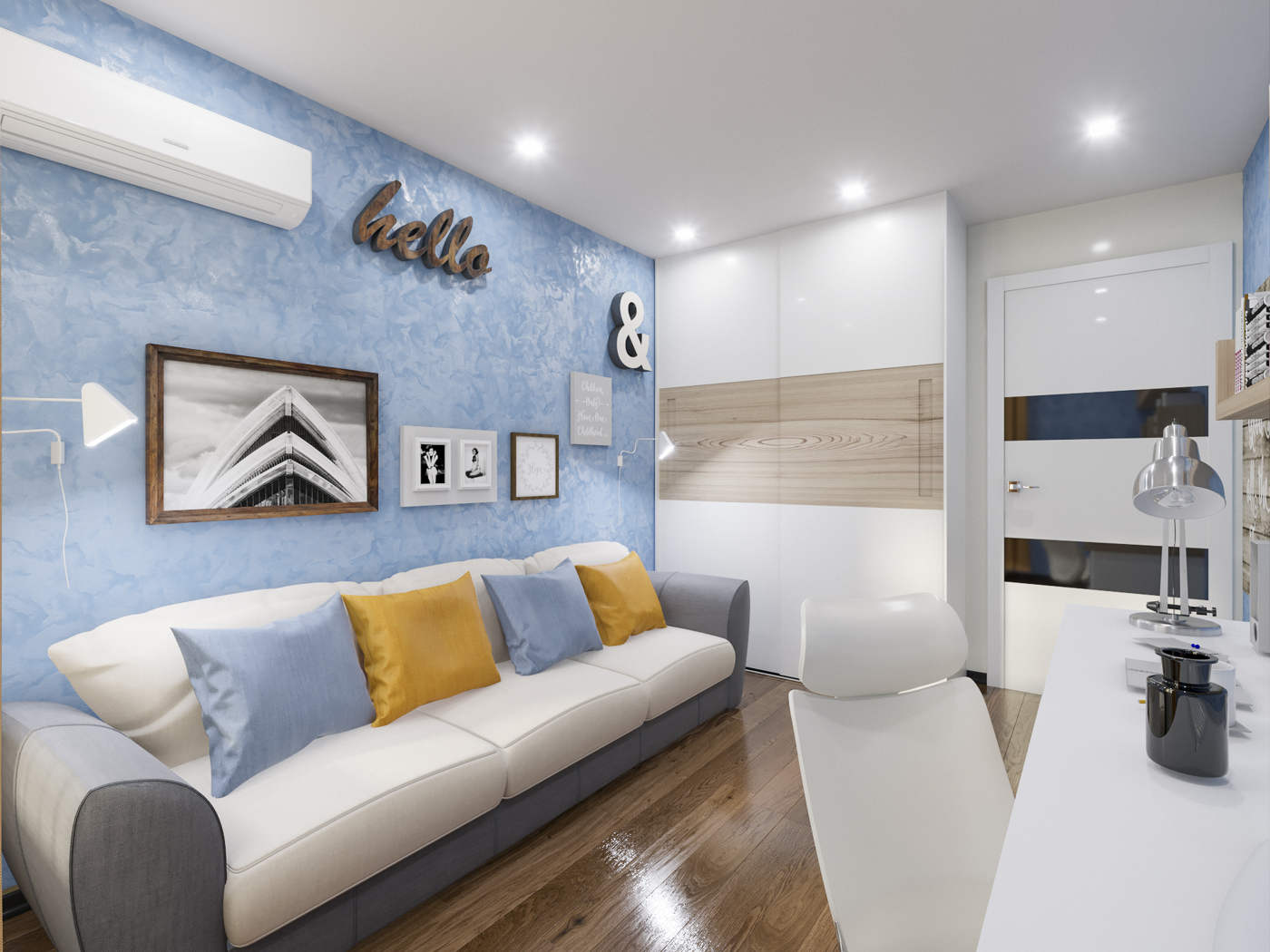 Дизайн детской комнаты Киев подростковая комната, диван, современный стиль, скандинавский, лофт