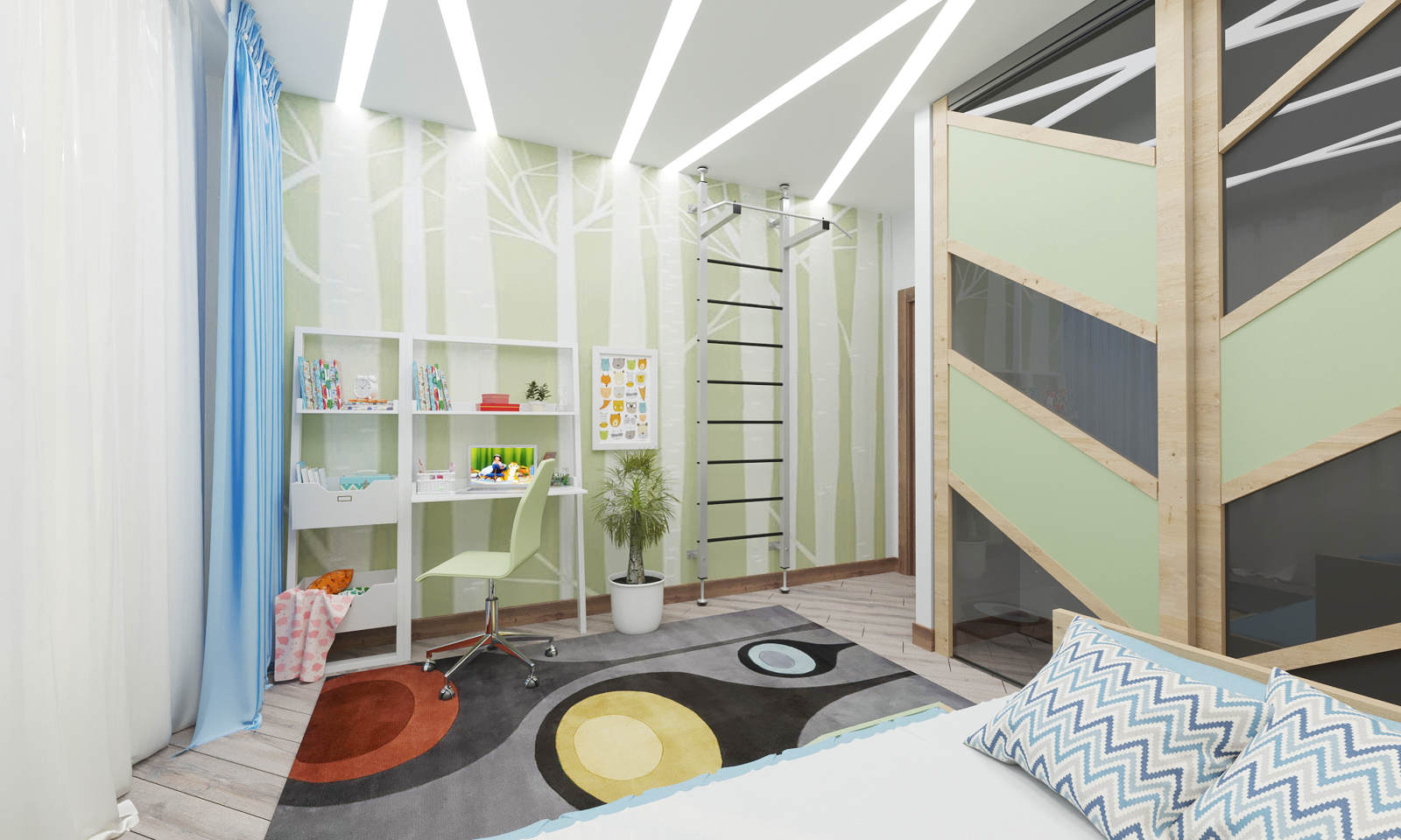 Дизайн детской комнаты Киев современный интерьер, шведская стенка, панели декор на стенах