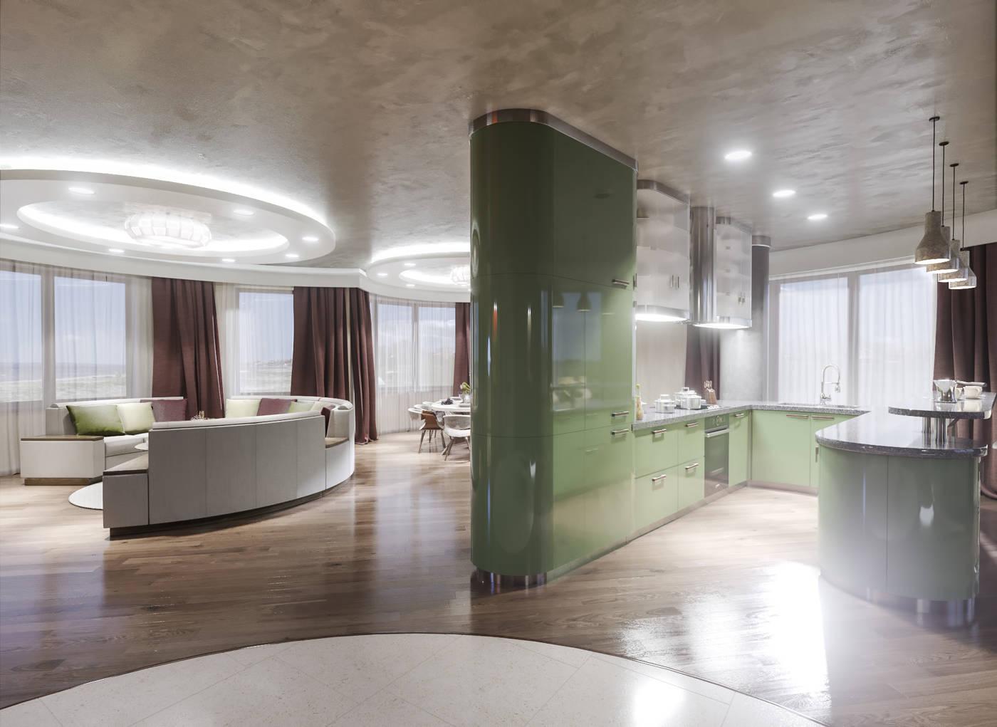 Дизайн кухни в квартире Киев островная кухня зеленая, модерн