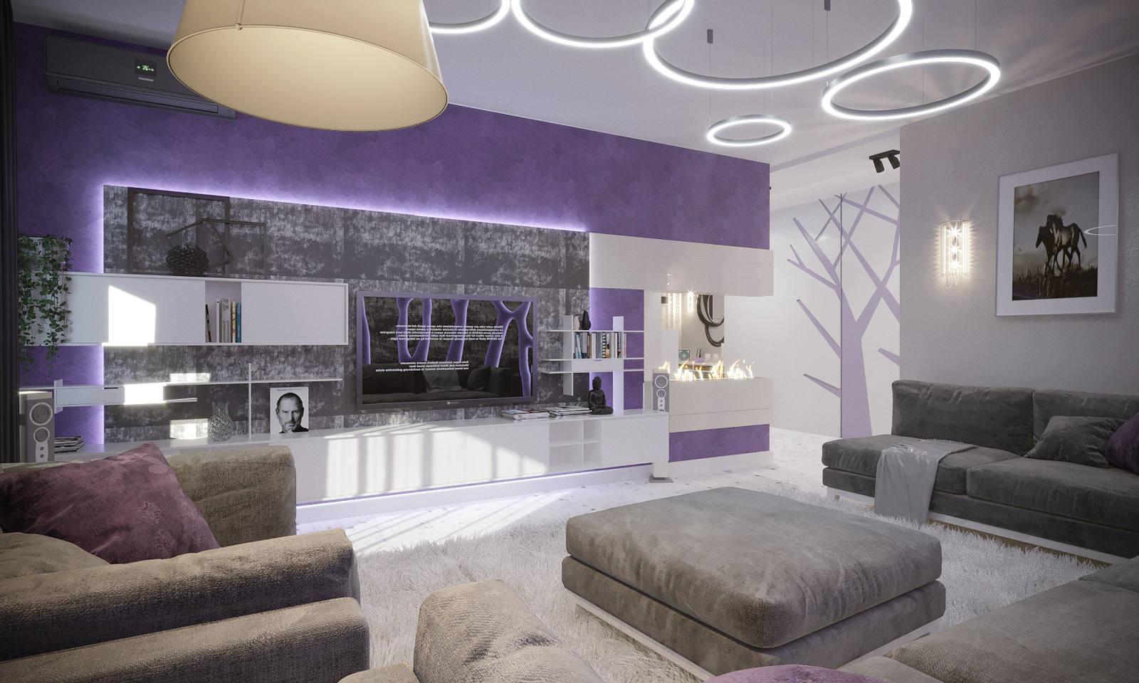 Дизайн нтерьера гостинной Киев Винтаж Фиолетовый цвет
