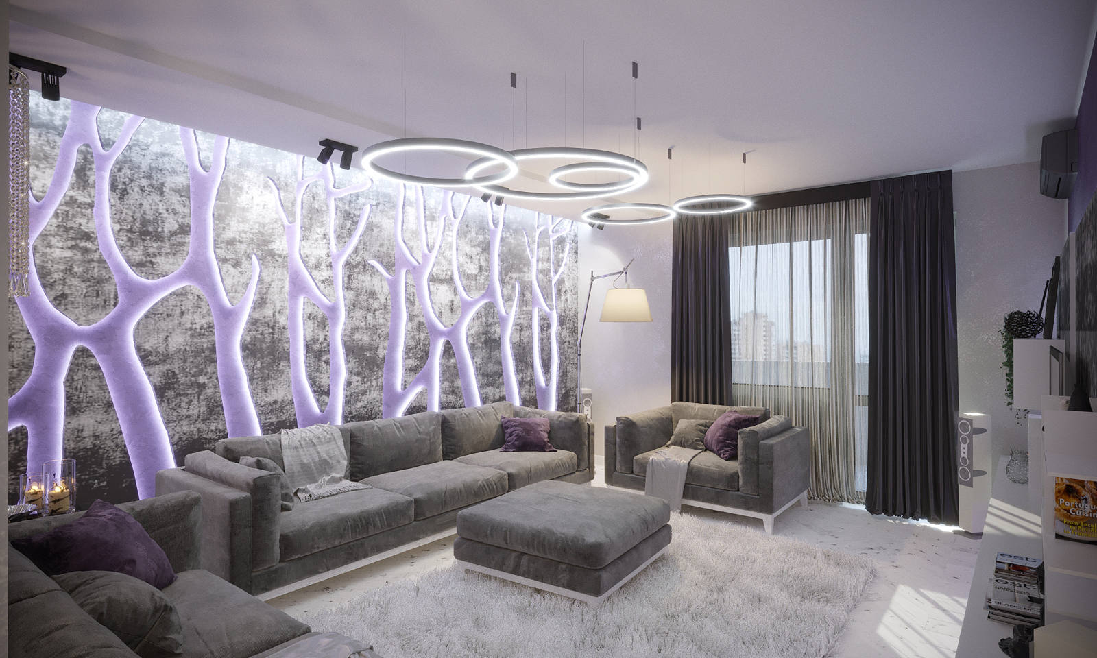 Дизайн нтерьера гостинной декор на стенах, подсветка деревья Киев