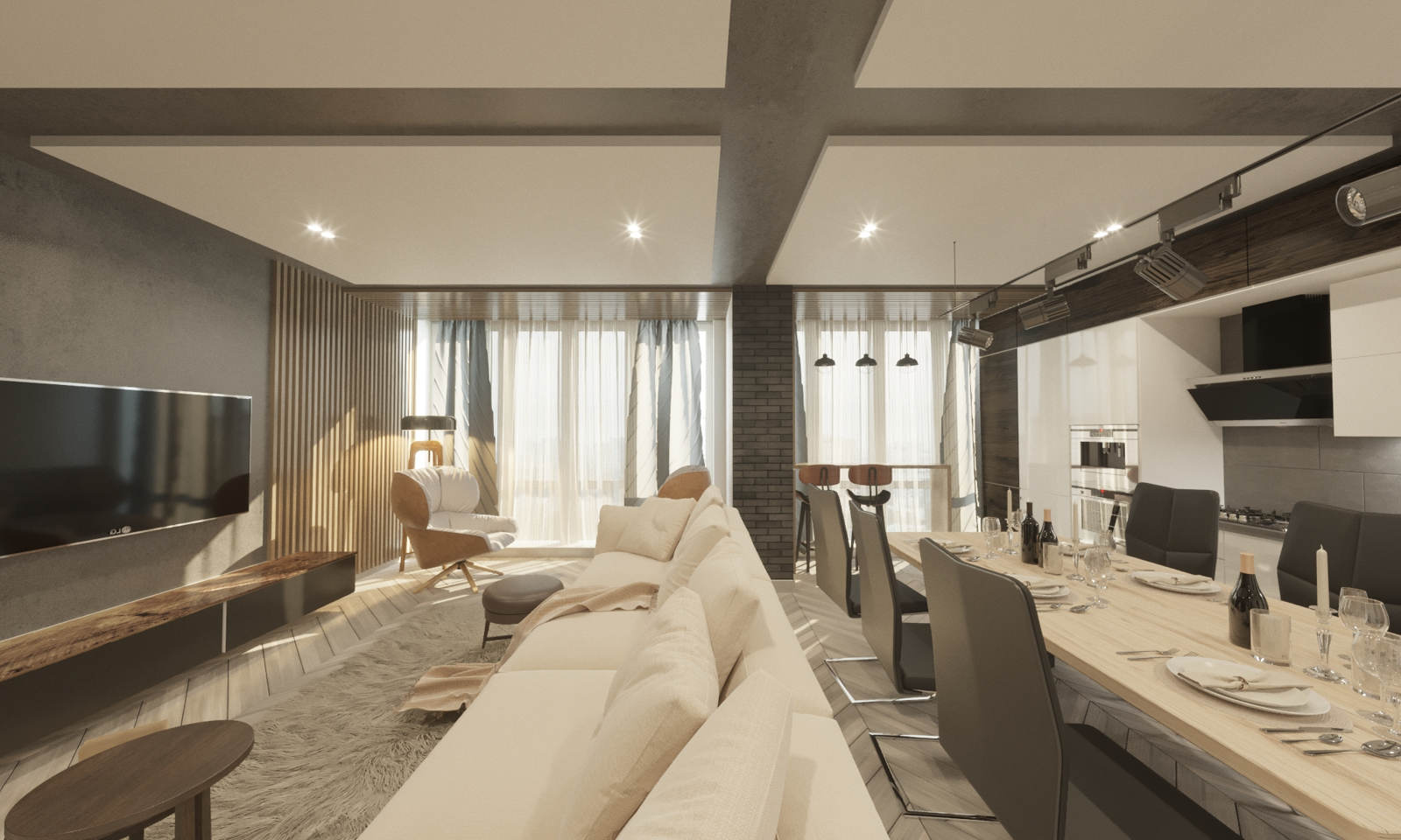 Дизайн кухни в квартире Киев современный стиль, гостиная