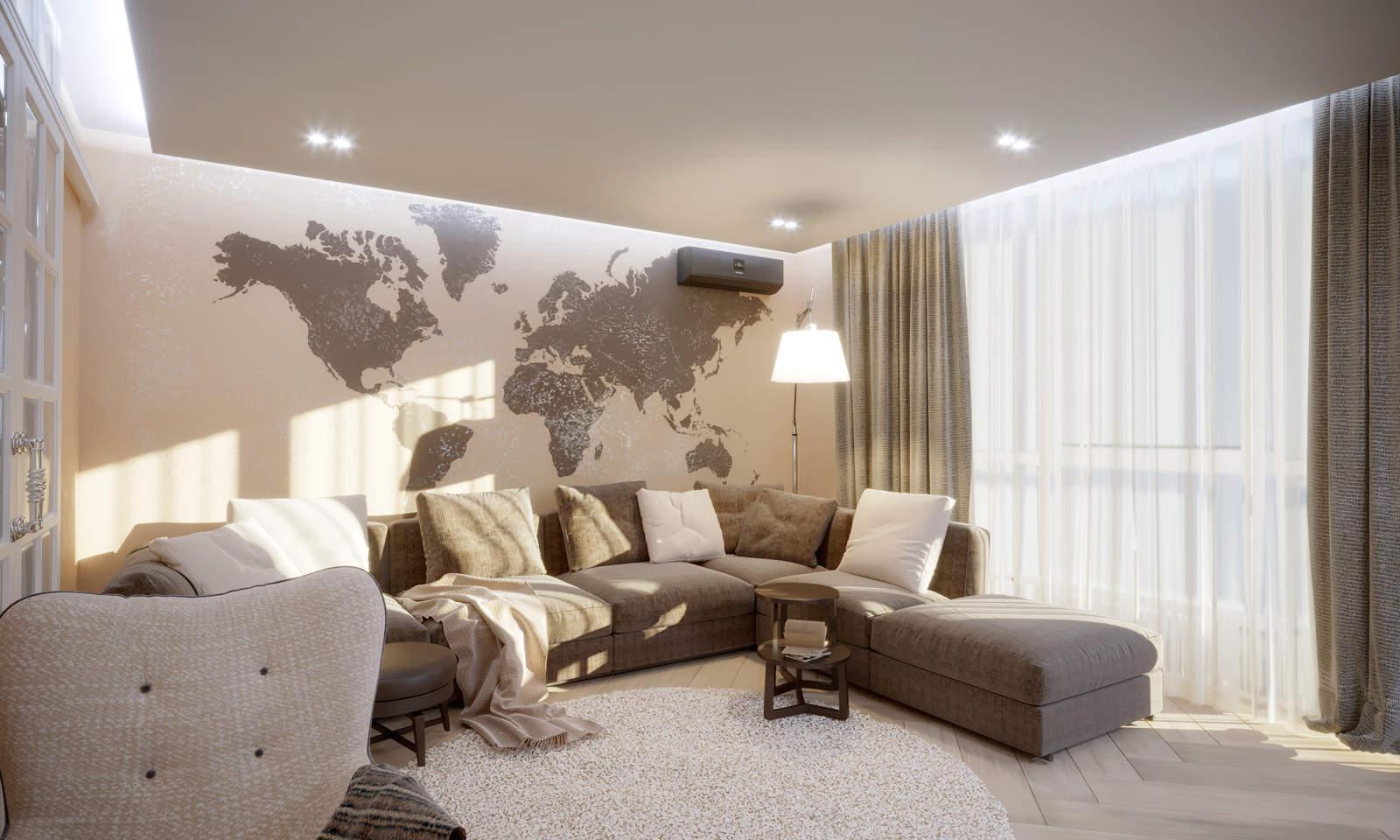Дизайн нтерьера гостинной Киев Карта мира на стене
