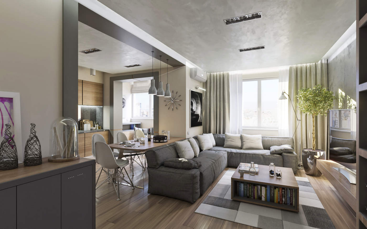 Дизайн нтерьера гостинной и кухни Киев, ЖК Малахит, минимализм, скандинавский стиль