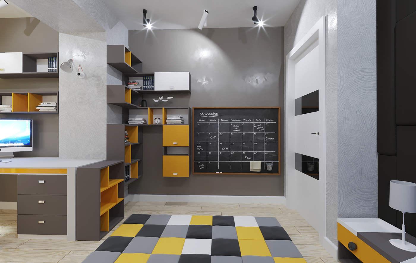 Дизайн детской комнаты для мальчиков Киев. для подростка школьника детская рабочее место, лофт, скандинавский