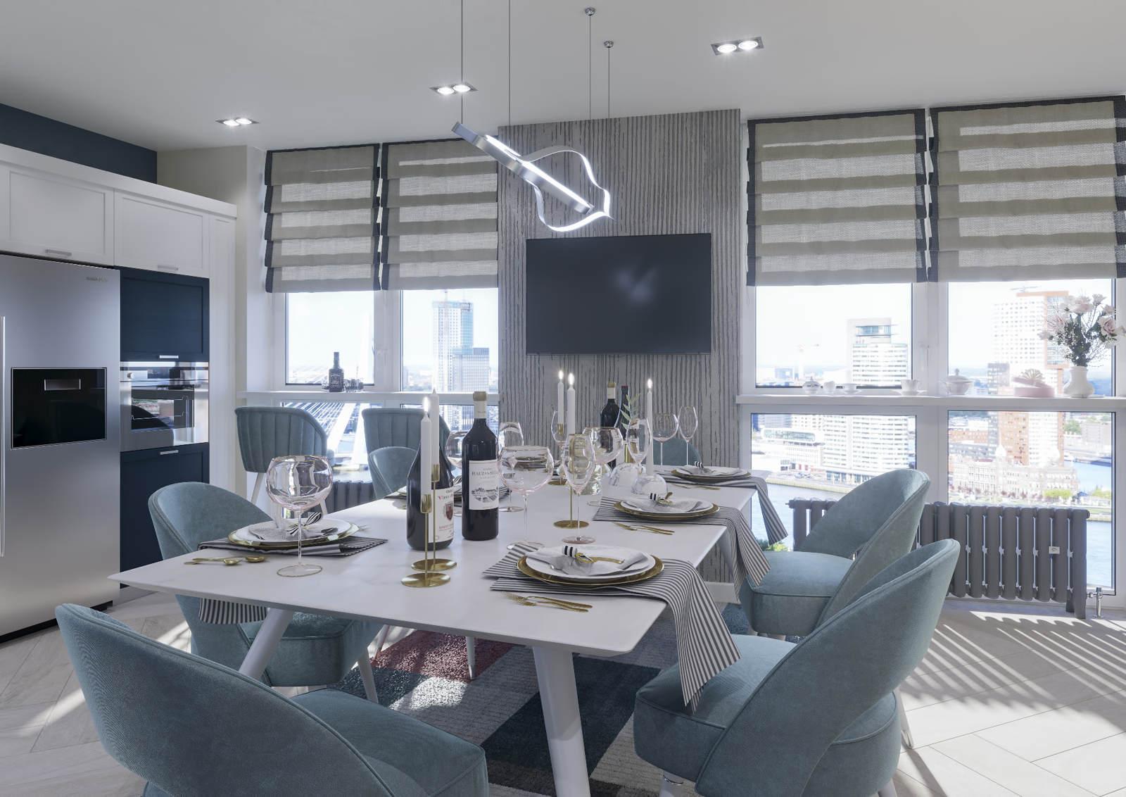 Дизайн нтерьера гостинной Киев скандинавский стиль лофт, декор на стенах, стол и стулья