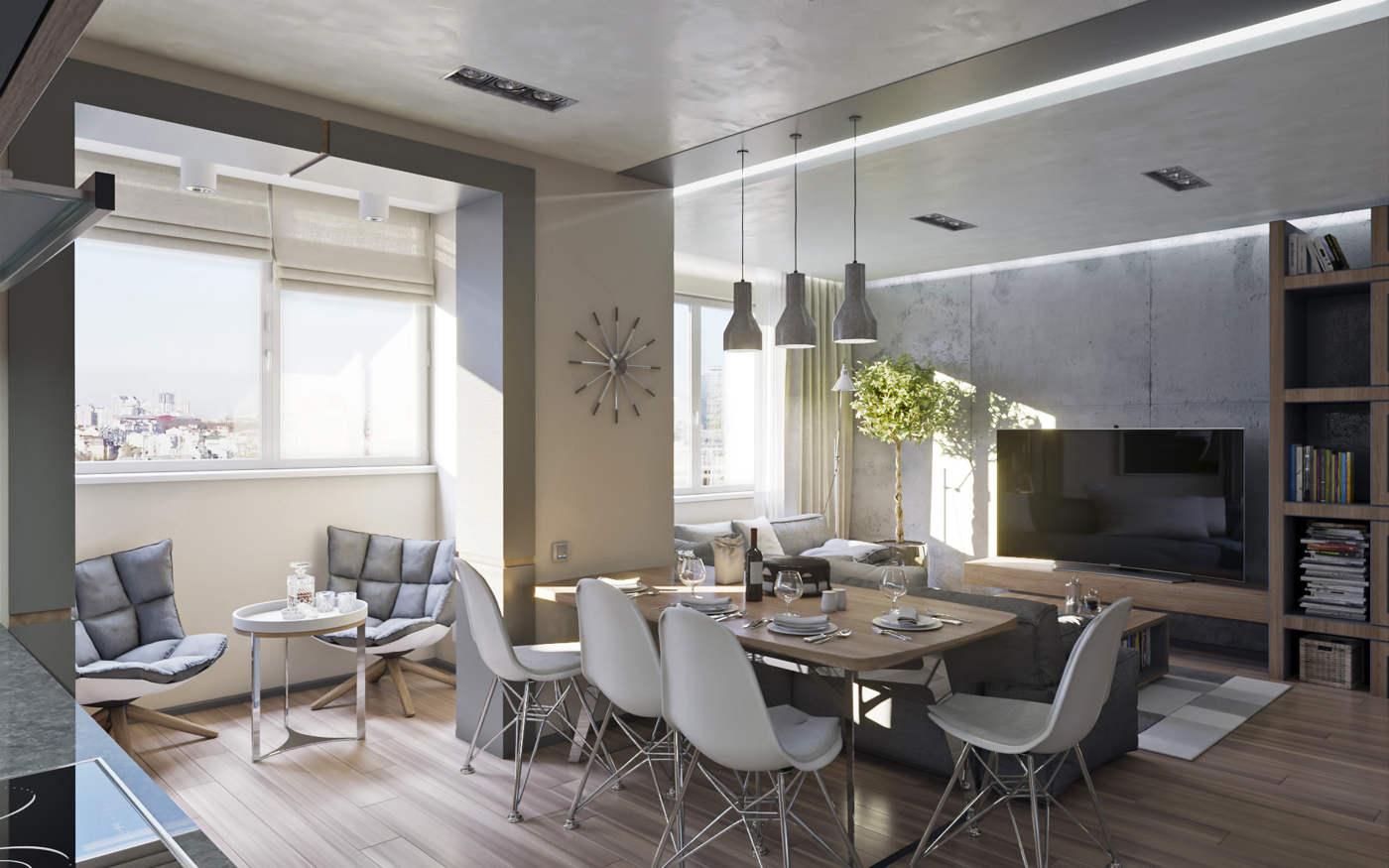 Дизайн нтерьера гостинной и кухни Киев, лофт, скандинавский стиль