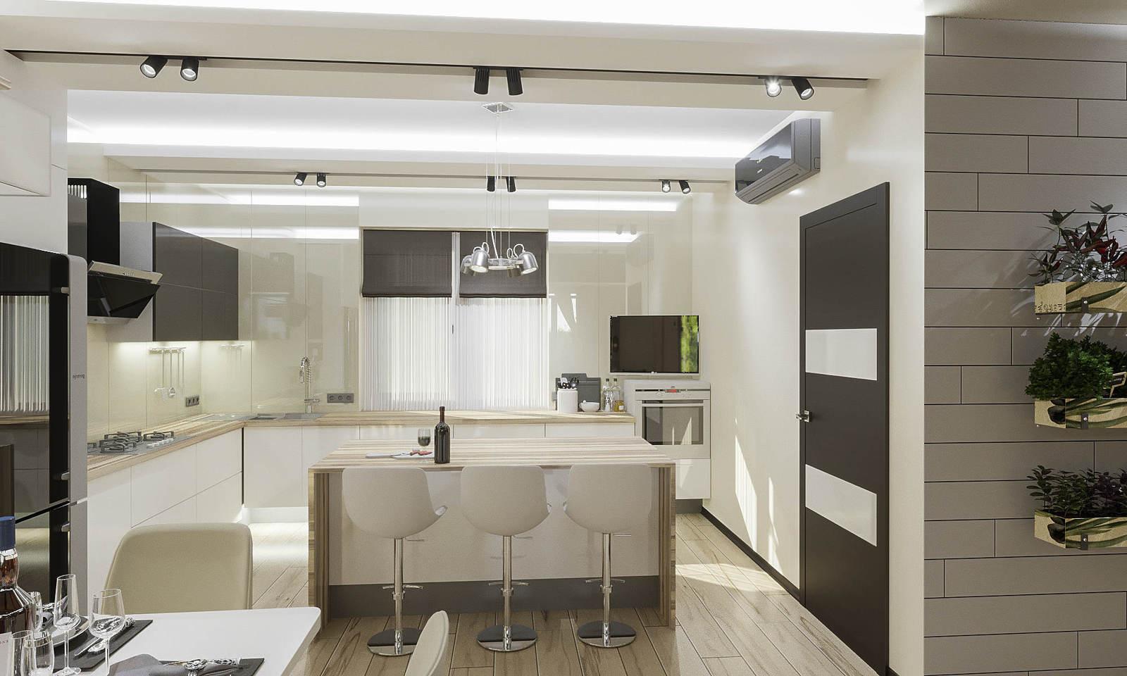 Дизайн кухни в квартире Киев контратные цвета современный стиль