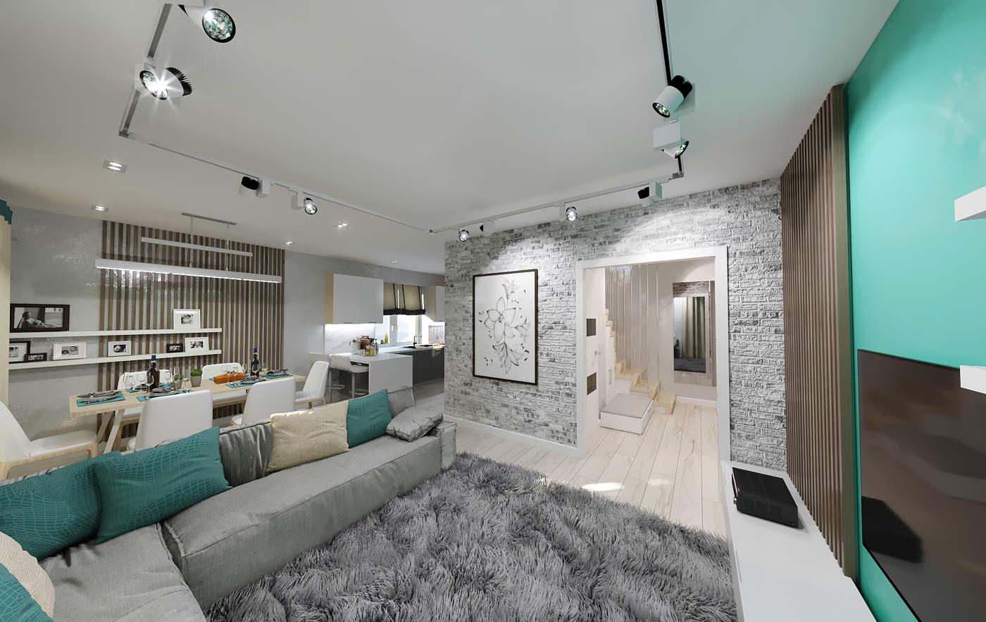 Дизайн нтерьера гостинной Киев в бирюзовом цвете, модерн