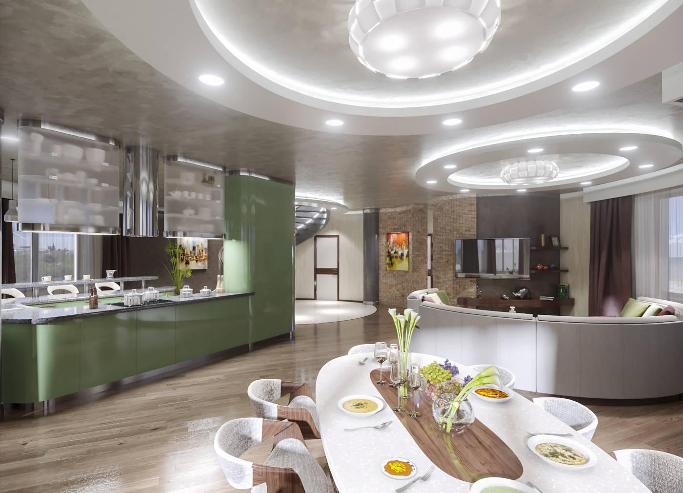 Дизайн нтерьера гостинной и кухни Киев, Дом. Островная кухня
