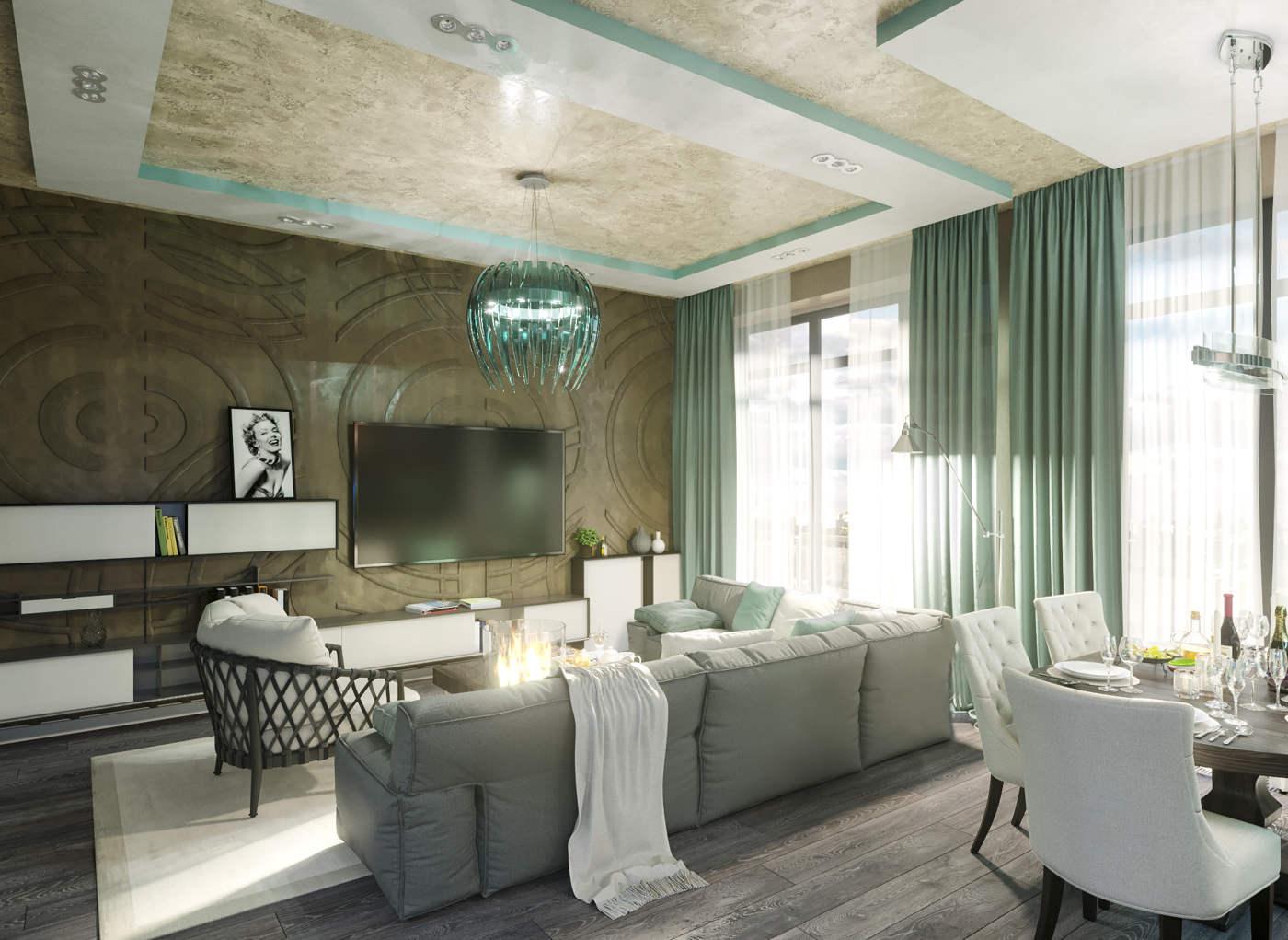 Дизайн нтерьера гостинной в модерне Киев декоративка на стенах