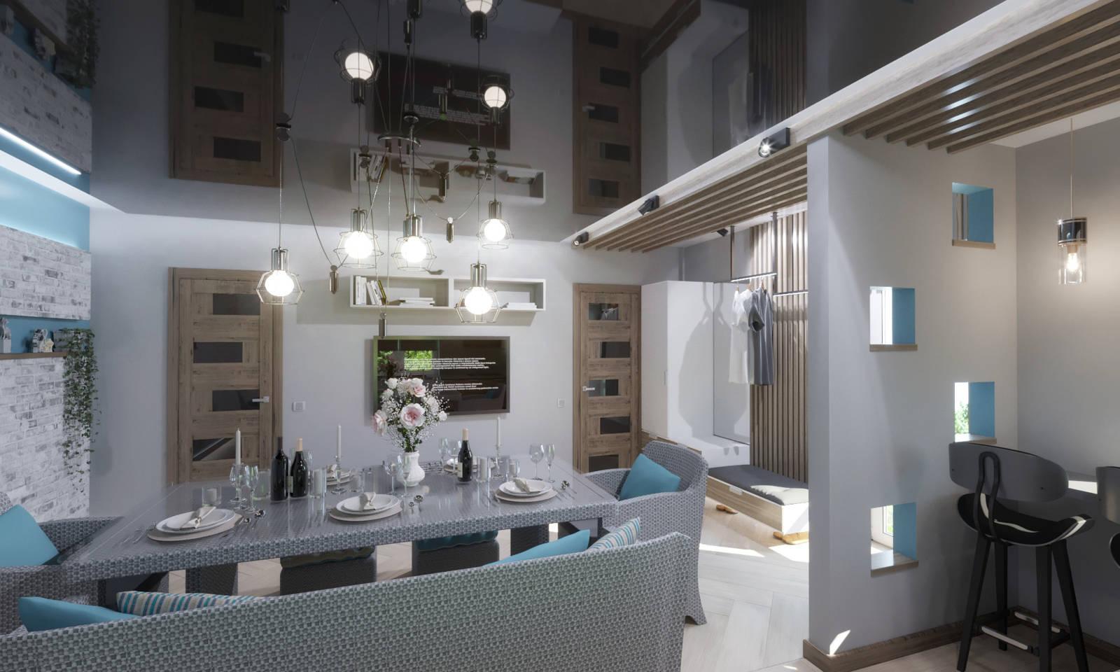 Дизайн нтерьера гостинной в сканинавском стиле, модерн Киев