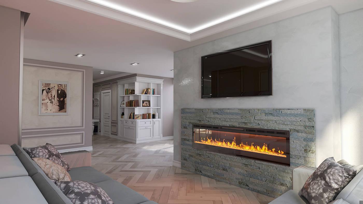 Дизайн нтерьера гостинной с элементами классики Киев ЖК Французский квартал