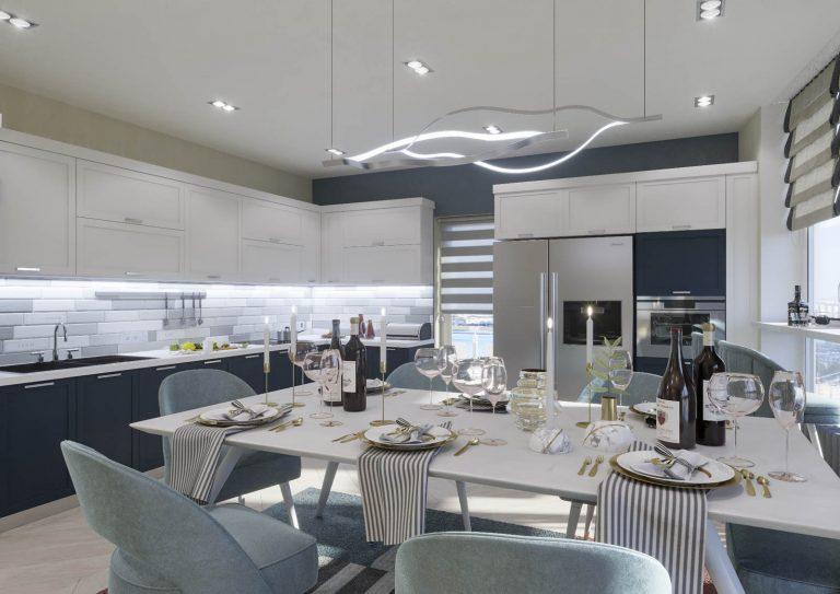 Дизайн кухни в квартире Киев ЖК Автограф, скандинавский стиль