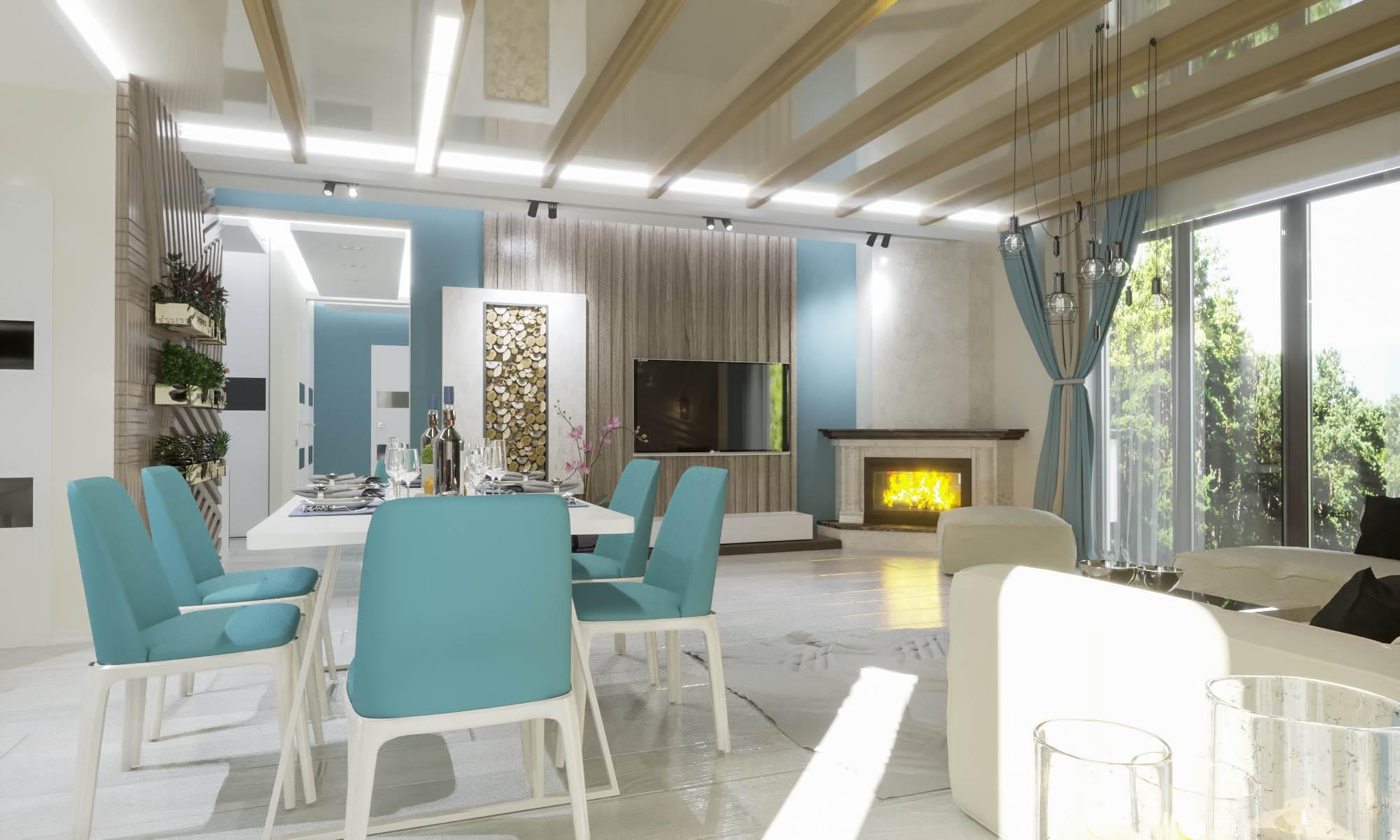 Дизайн нтерьера гостинной Дом в Буче, камин в углу, современный стиль