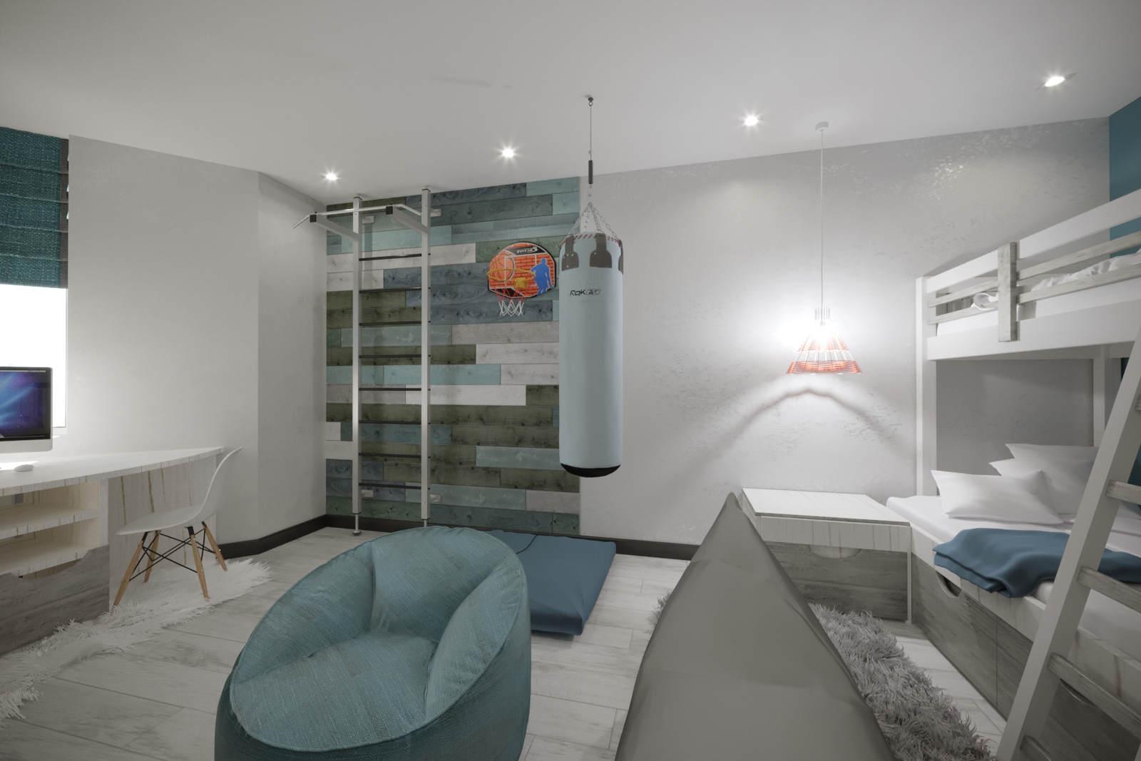 Дизайн детской комнаты Киев лофт для подростка, современный интерьер, скандинавский, новые идеи рабочее место, бетон на стенах