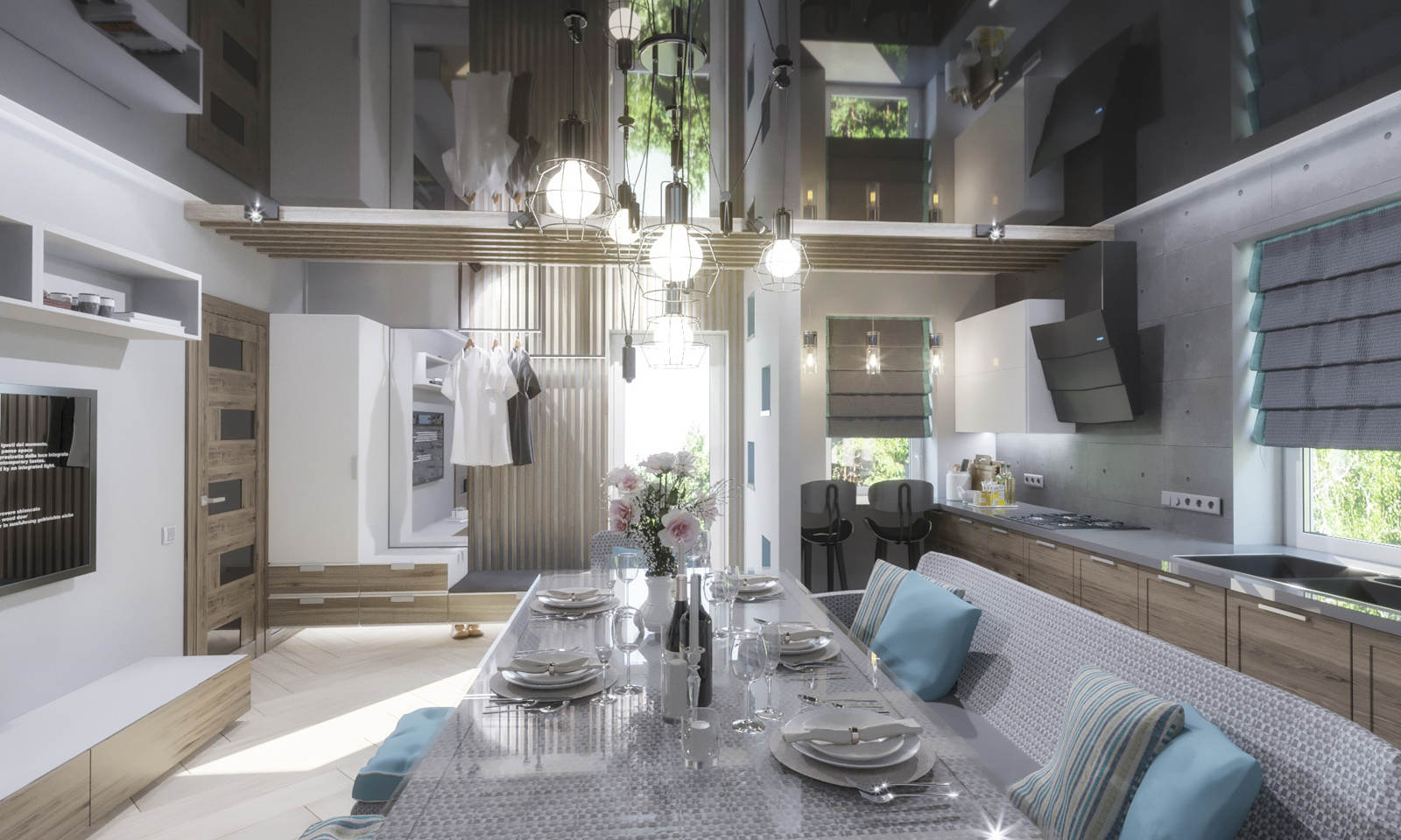 Дизайн кухни в квартире Киев новые идеи с черным потолком