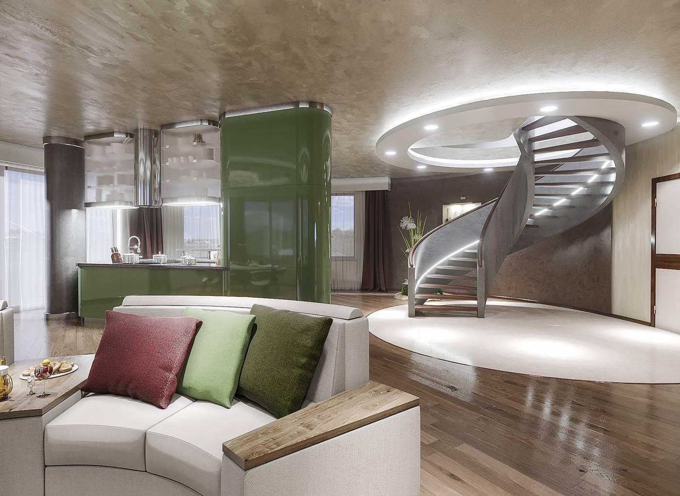 Дизайн нтерьера гостинной и кухни Киев, дом, винтовая лестница.