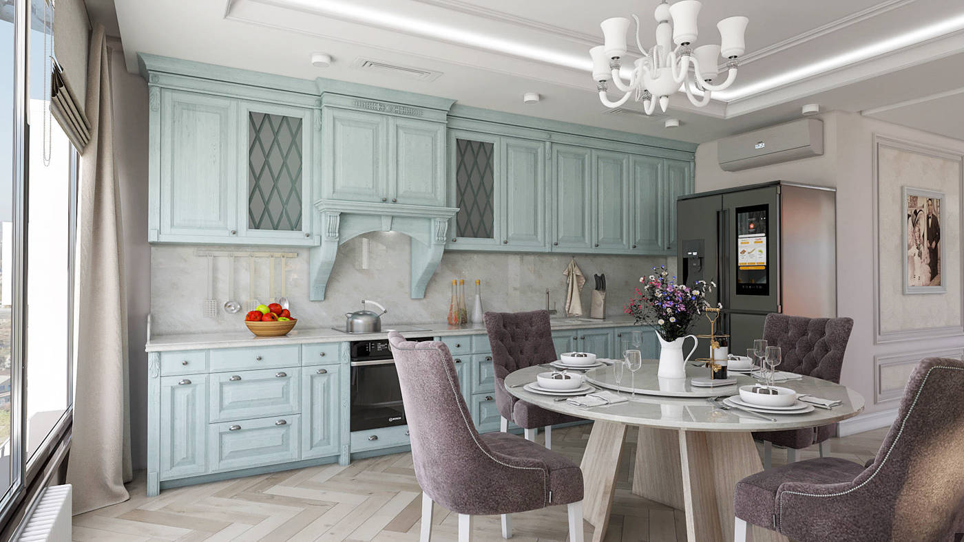 Дизайн кухни в квартире Киев класический интерьер, бирюзовая кухня